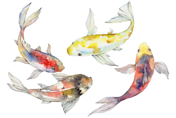 Print on Demand: Magic Gold Fish Watercolor Png Graphic Illustrations By MyStocks