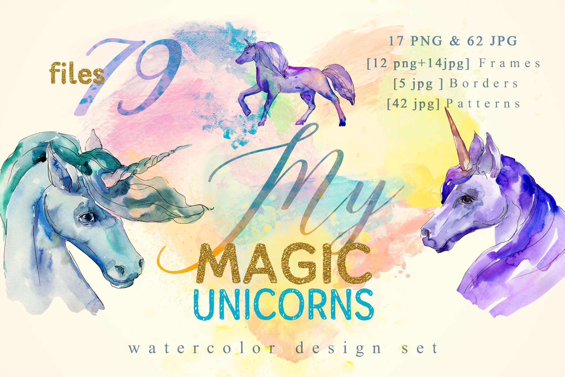 Download Free Magic Unicorn Watercolor Graphic By Mystocks Creative Fabrica for Cricut Explore, Silhouette and other cutting machines.
