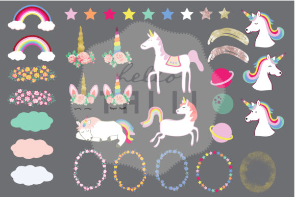 Download Free Magical Unicorns Clip Art Graphic By Hello Talii Creative Fabrica for Cricut Explore, Silhouette and other cutting machines.