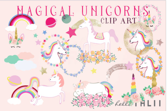 Magical Unicorns Clip Art Graphic Illustrations By Hello Talii