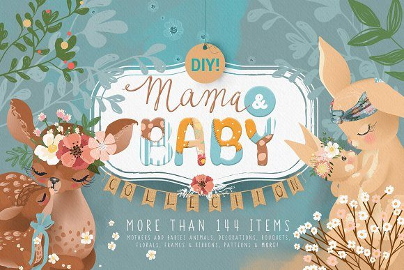 Print on Demand: Mama & Baby Kollektion Grafik Illustrationen von Anna Babich