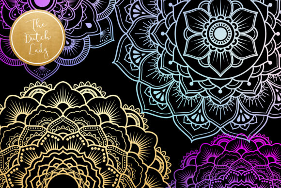 Print on Demand: Mandala Clipart in Blue & Gold Graphic Illustrations By daphnepopuliers - Image 2
