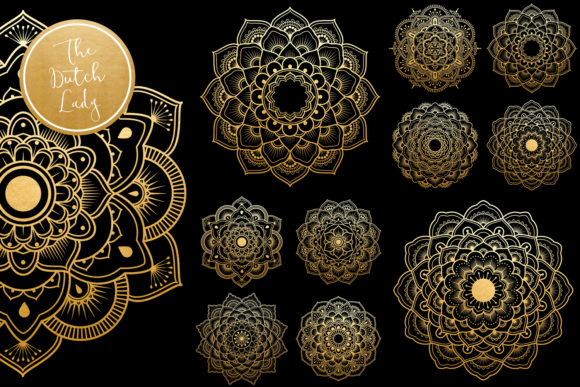 Print on Demand: Mandala Clipart in Blue & Gold Graphic Illustrations By daphnepopuliers - Image 3