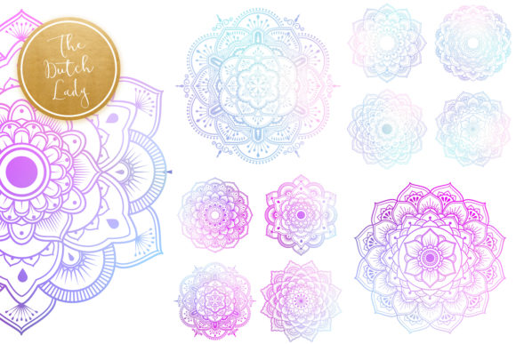 Print on Demand: Mandala Clipart in Blue & Gold Graphic Illustrations By daphnepopuliers - Image 4