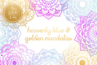 Mandala Clipart in Blue & Gold Graphic By daphnepopuliers