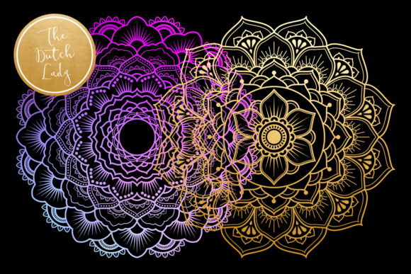 Print on Demand: Mandala Clipart in Blue & Gold Graphic Illustrations By daphnepopuliers - Image 5