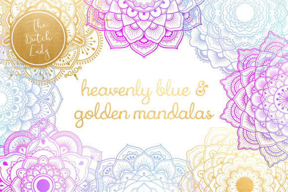 Print on Demand: Mandala Clipart in Blue & Gold Graphic Illustrations By daphnepopuliers - Image 1