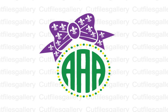 Download Free Mardi Gras Bow Monogram Svg Graphic By Cutfilesgallery for Cricut Explore, Silhouette and other cutting machines.