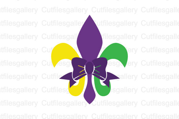 Download Free Mardi Gras Fleur De Lis Bow Svg Graphic By Cutfilesgallery for Cricut Explore, Silhouette and other cutting machines.