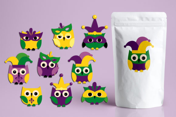 Print on Demand: Mardi Gras Owls Graphic Illustrations By Revidevi