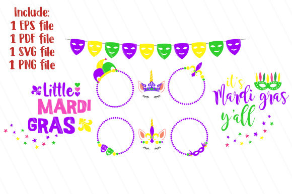 Download Free Mardi Gras Cute Bundle Graphic By Goldenflower Creative Fabrica for Cricut Explore, Silhouette and other cutting machines.