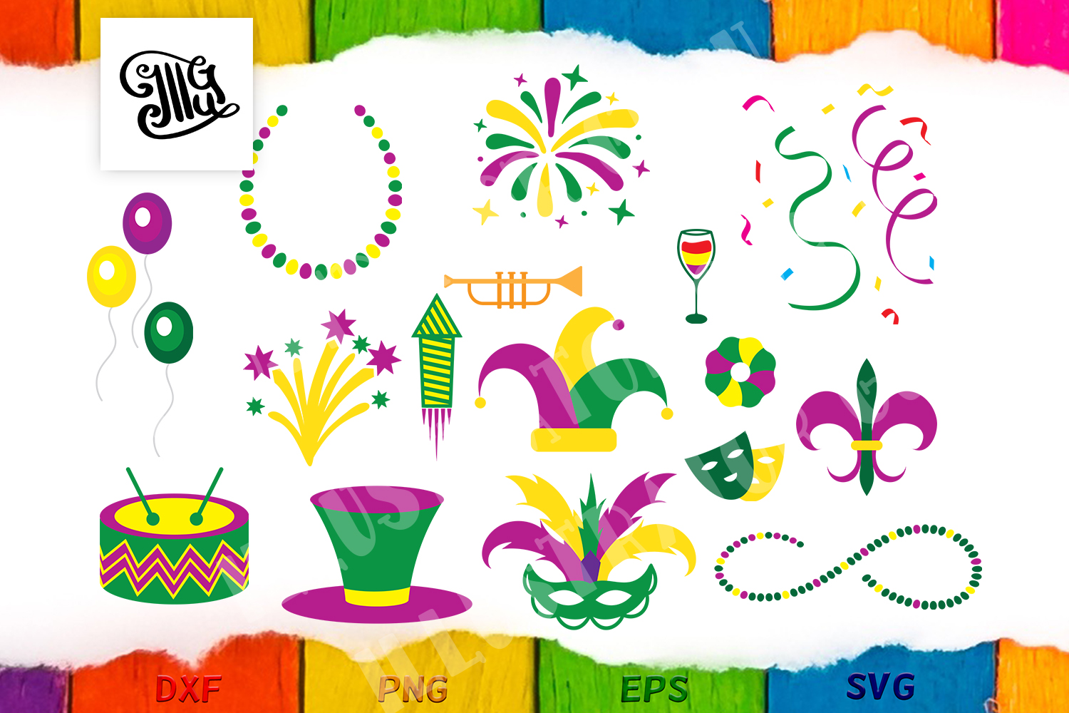 Download Free Mardi Gras Design Elements Graphic By Illustrator Guru for Cricut Explore, Silhouette and other cutting machines.