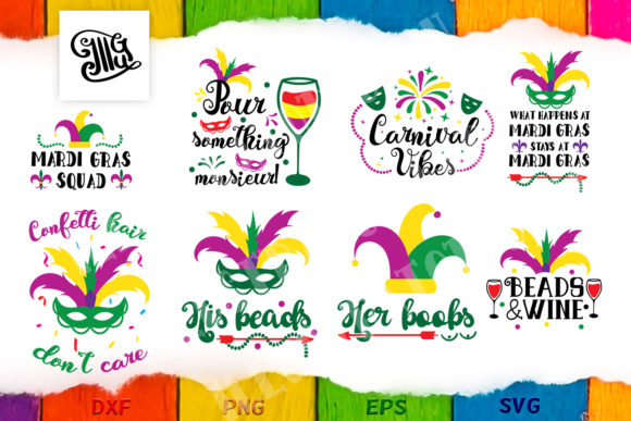 Download Free Mardi Gras Sayings Bundle Graphic By Illustrator Guru Creative for Cricut Explore, Silhouette and other cutting machines.