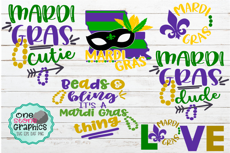 Download Free Mardi Gras Bundle Graphic By Onestonegraphics Creative Fabrica for Cricut Explore, Silhouette and other cutting machines.