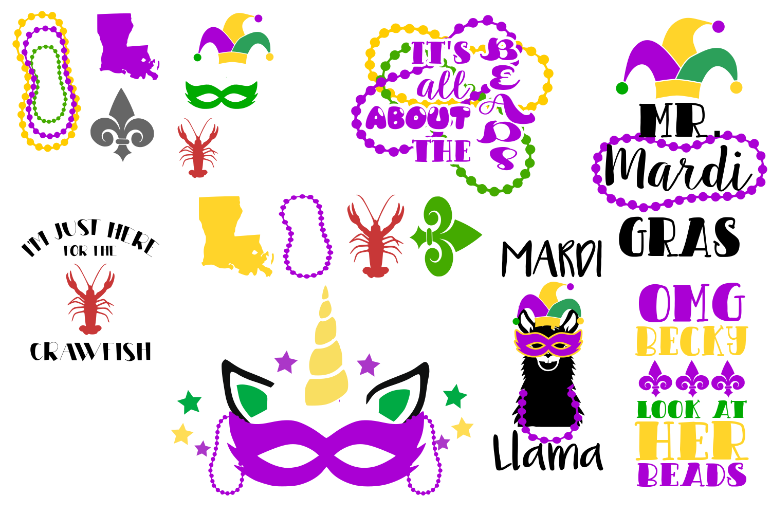 Download Free Mardo Gras Bundle Graphic By Auntie Inappropriate Designs for Cricut Explore, Silhouette and other cutting machines.