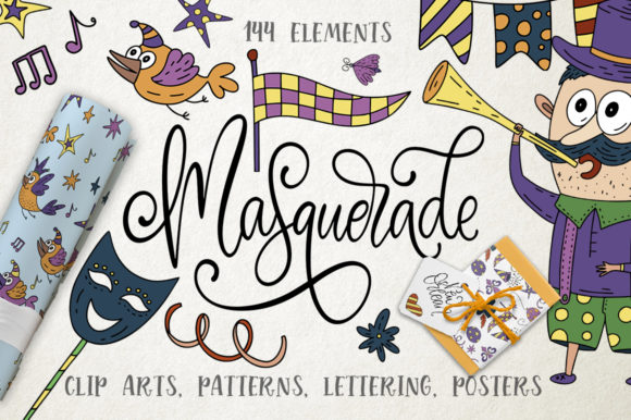 Print on Demand: Masquerade. Mardi Gras Graphic Pack. Grafik Illustrationen von Red Ink