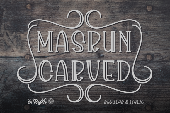 Print on Demand: Masrun Carved Display Font By Rifki (7ntypes)