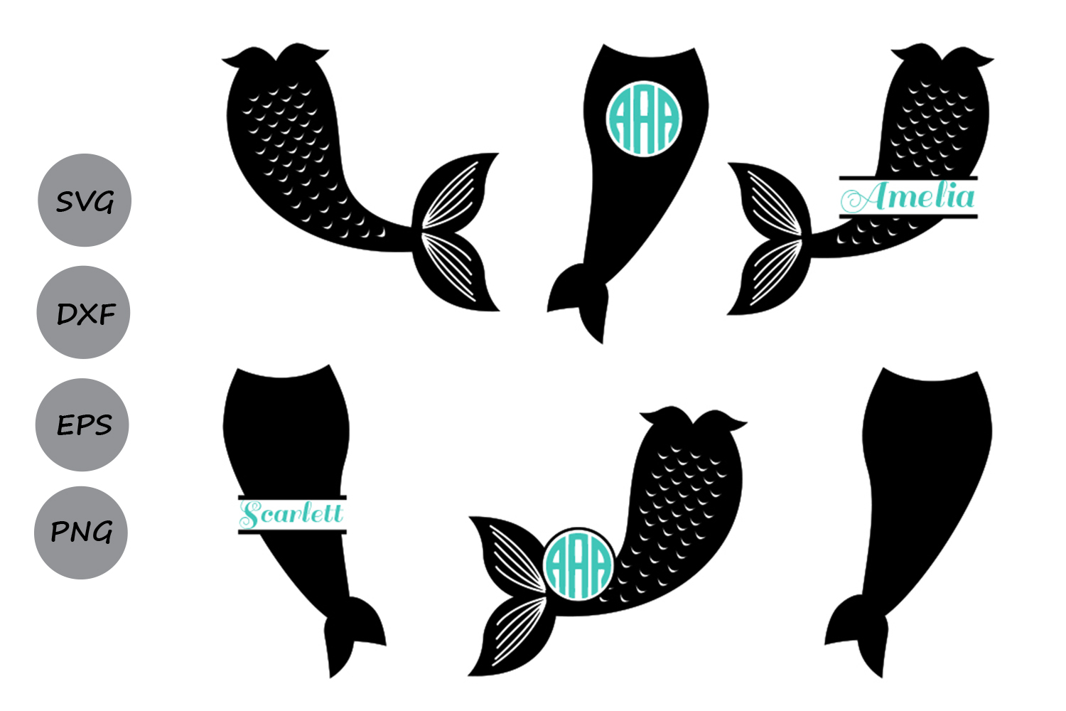 Download Free Mermaid Tail Monogram Svg Graphic By Cosmosfineart Creative for Cricut Explore, Silhouette and other cutting machines.