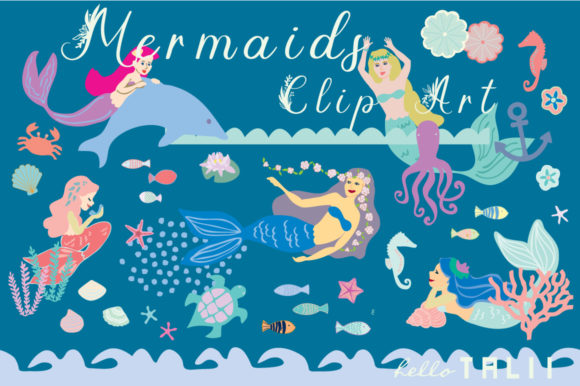Mermaids Clip Art Graphic Illustrations By Hello Talii