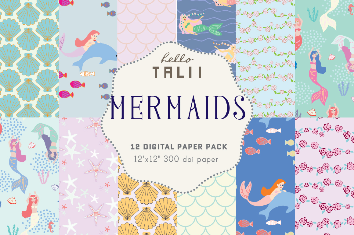 Download Free Mermaids Digital Paper Graphic By Hello Talii Creative Fabrica for Cricut Explore, Silhouette and other cutting machines.