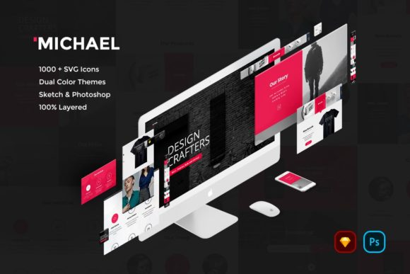 Print on Demand: Michael Creative Website UI Kit Graphic UX and UI Kits By Webhance