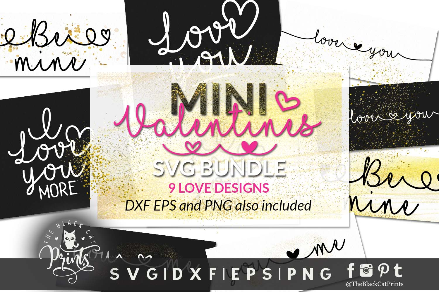 Download Free Mini Valentines Bundle Graphic By Theblackcatprints Creative for Cricut Explore, Silhouette and other cutting machines.