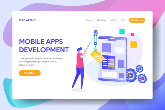 Mobile Apps Development Graphic Landing Page Templates By Twiri