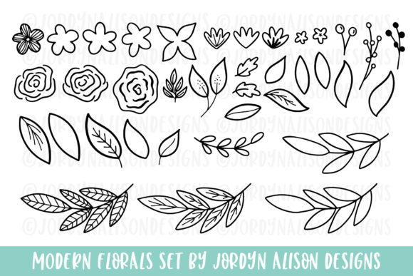 Modern Florals Graphic Elements Graphic Illustrations By jordynalisondesigns - Image 3