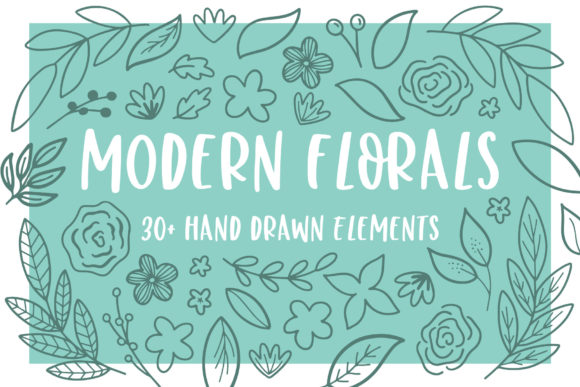Modern Florals Graphic Elements Graphic Illustrations By jordynalisondesigns