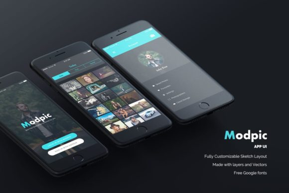 Print on Demand: Modpic App UI Mockup Sketch File Graphic UX and UI Kits By Webhance