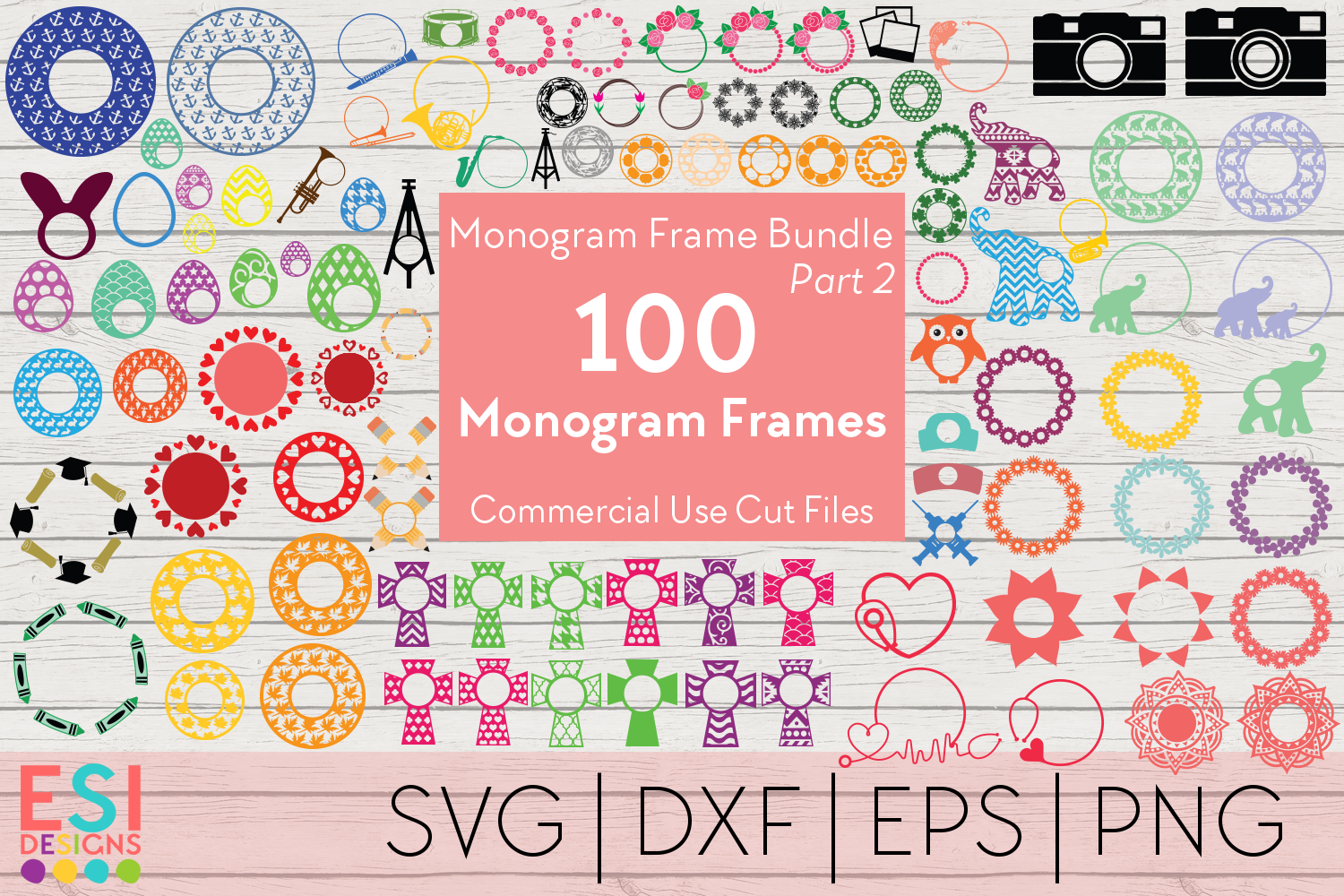Download Free Monogram Frame Bundle Graphic By Esi Designs Creative Fabrica for Cricut Explore, Silhouette and other cutting machines.