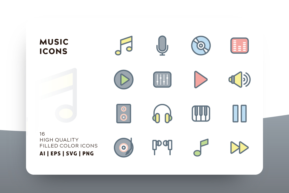 Download Free Music Icon Pack Graphic By Goodware Std Creative Fabrica for Cricut Explore, Silhouette and other cutting machines.