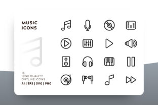 Music Outline Icon Pack Graphic By Goodware.Std