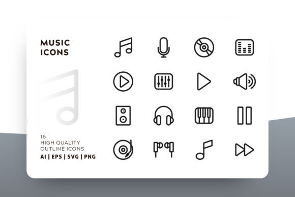 Print on Demand: Music Outline Icon Pack Graphic Icons By Goodware.Std