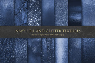 Bold Navy Foil and Glitter Textures Graphic By artisssticcc