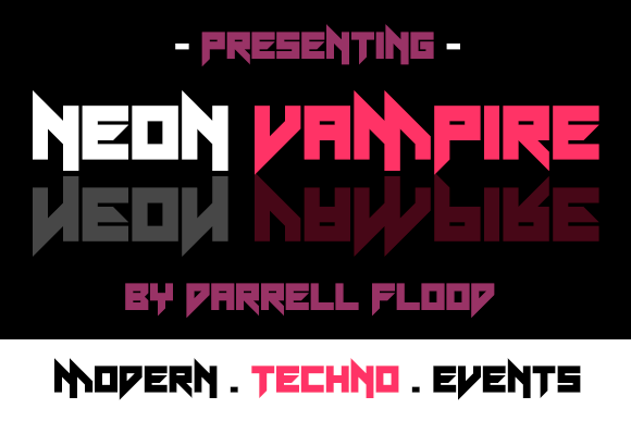 Print on Demand: Neon Vampire Display Font By Dadiomouse