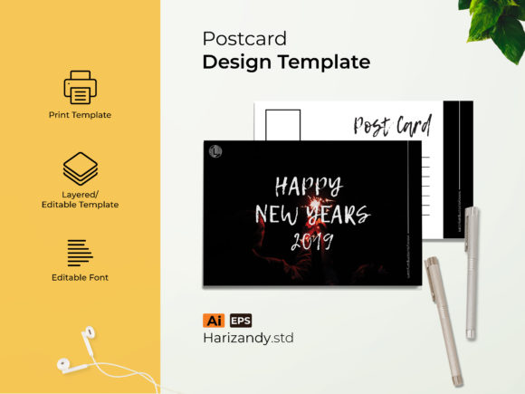 New Years Post Card Graphic Print Templates By harizandy