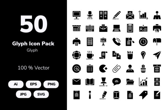 Download Free Office Glyph Icons Grafik Von Icon Stale Creative Fabrica for Cricut Explore, Silhouette and other cutting machines.