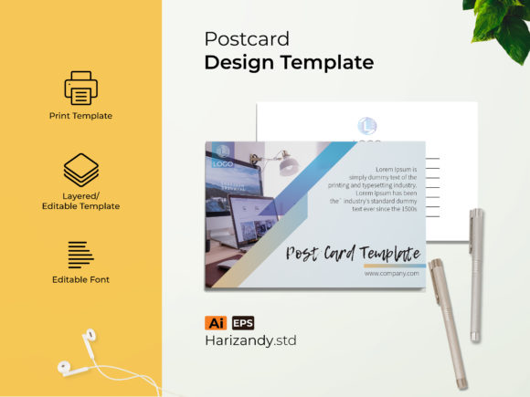Office Post Card Graphic Print Templates By harizandy