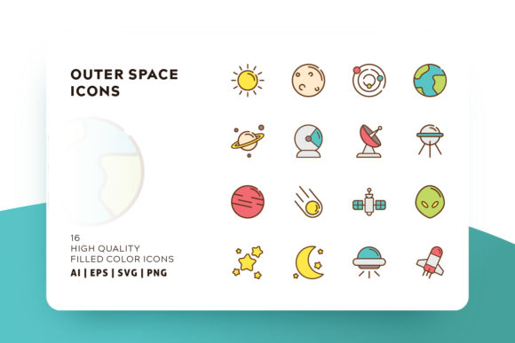 Download Free Outer Space Filled Color Icon Pack Graphic By Goodware Std for Cricut Explore, Silhouette and other cutting machines.