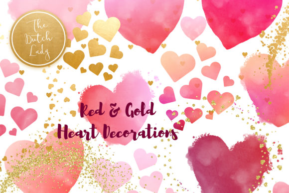 Print on Demand: Painted Hearts & Golden Decorations Clipart Set Graphic Crafts By daphnepopuliers