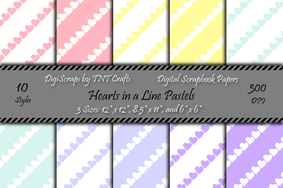 Download Free Pastel Hearts In A Line Digital Scrapbook Paper Pack Graphic By for Cricut Explore, Silhouette and other cutting machines.