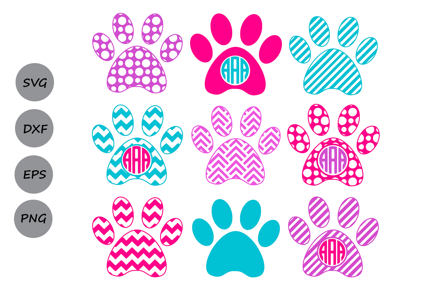 Download Free Paw Print Monogram Svg Graphic By Cosmosfineart Creative Fabrica for Cricut Explore, Silhouette and other cutting machines.