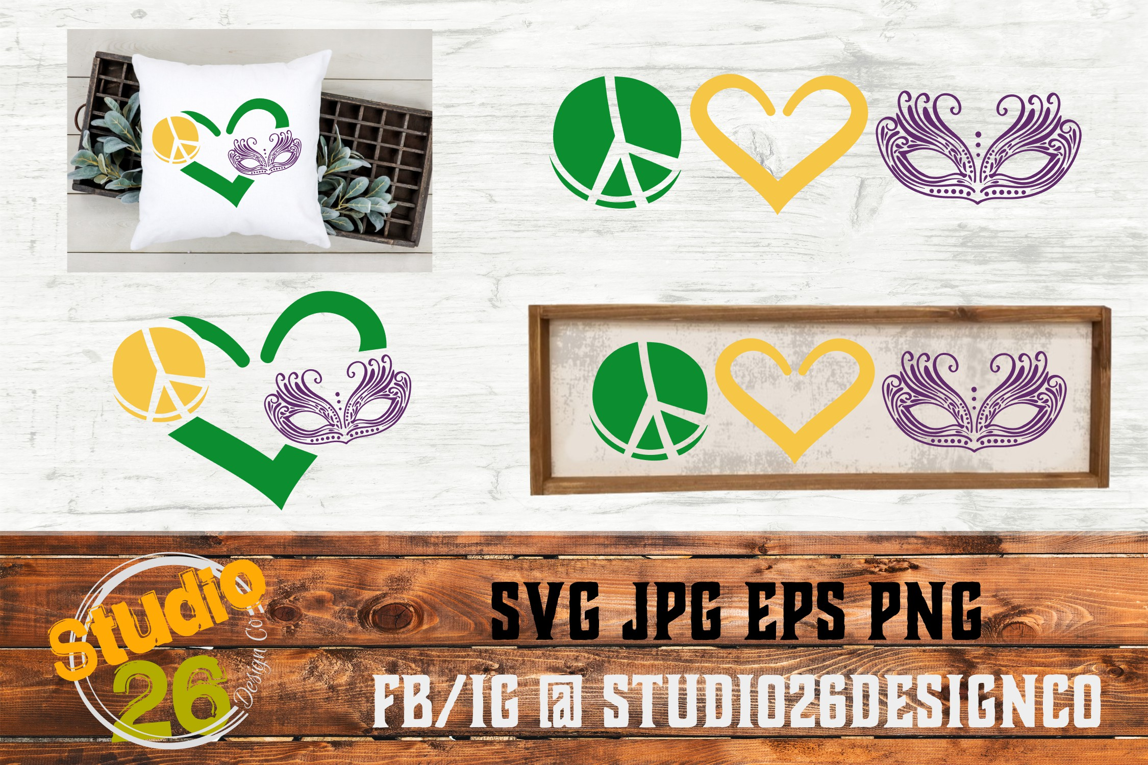 Download Free Peace Love Mardi Gras Mini Bundle Graphic By Studio 26 Design for Cricut Explore, Silhouette and other cutting machines.