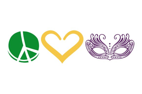 Download Free Peace Love Mardi Gras Rectangle Graphic By Studio 26 Design Co for Cricut Explore, Silhouette and other cutting machines.