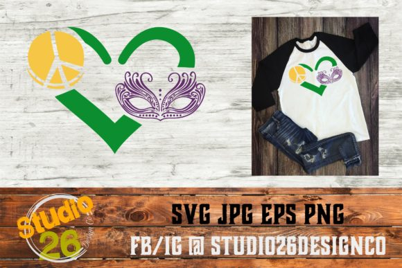 Download Free Peace Love Mardi Gras Square Graphic By Studio 26 Design Co for Cricut Explore, Silhouette and other cutting machines.