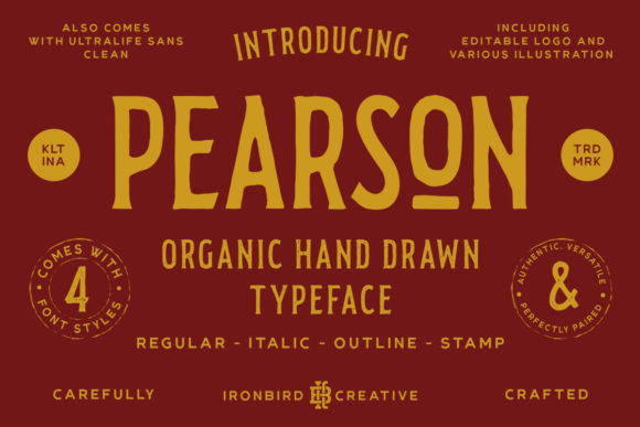 Print on Demand: Pearson Display Font By ironbirdcreative