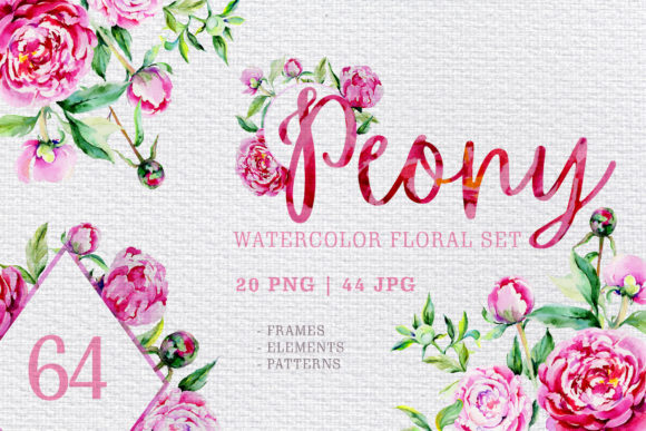 Print on Demand: Pink Watercolor Peonies Pack Graphic Illustrations By MyStocks