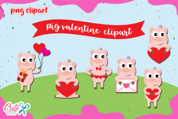 Pig Love Clipart Set Graphic Illustrations By Cute files