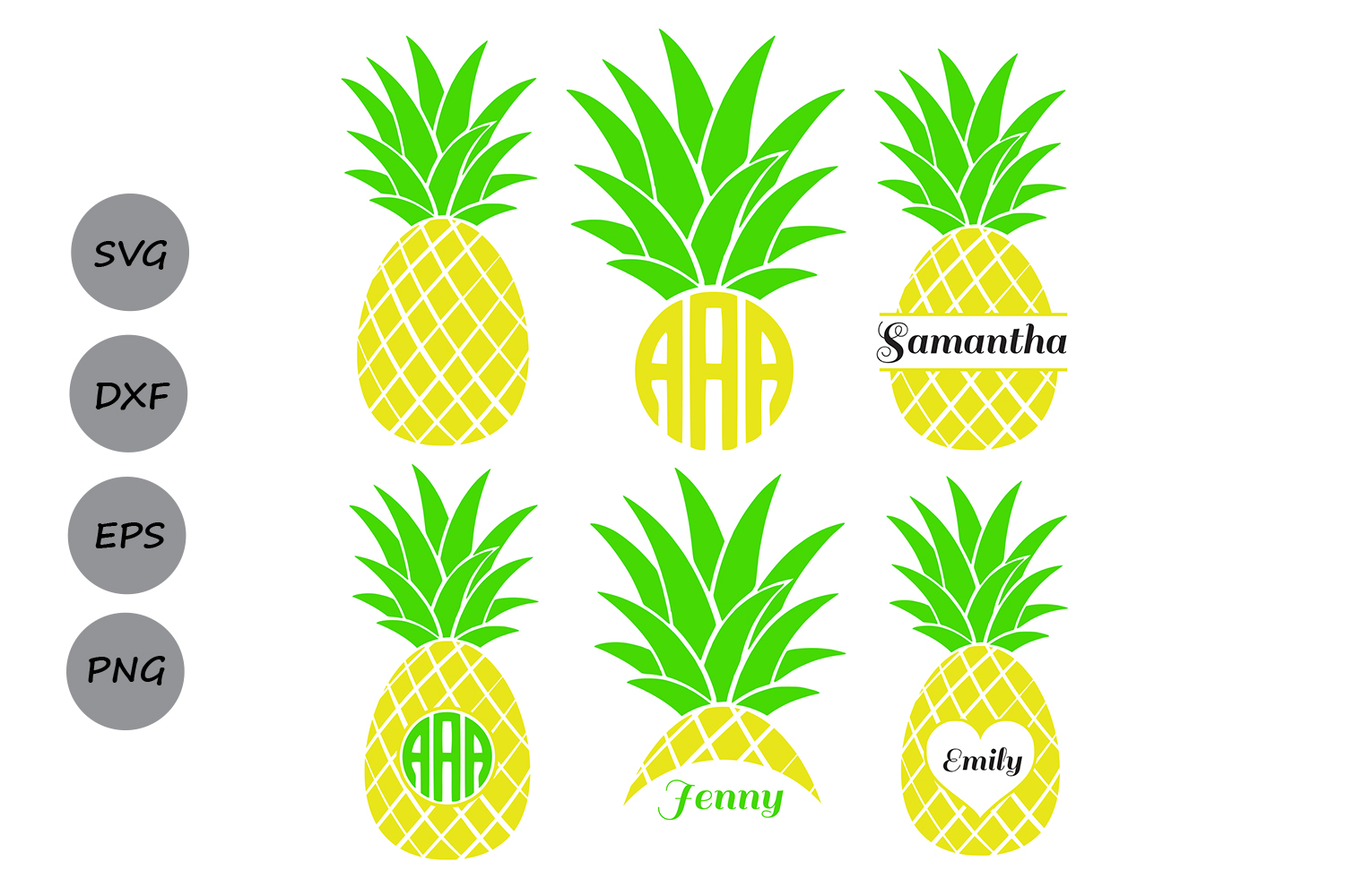 Download Free Pineapple Monogram Graphic By Cosmosfineart Creative Fabrica for Cricut Explore, Silhouette and other cutting machines.